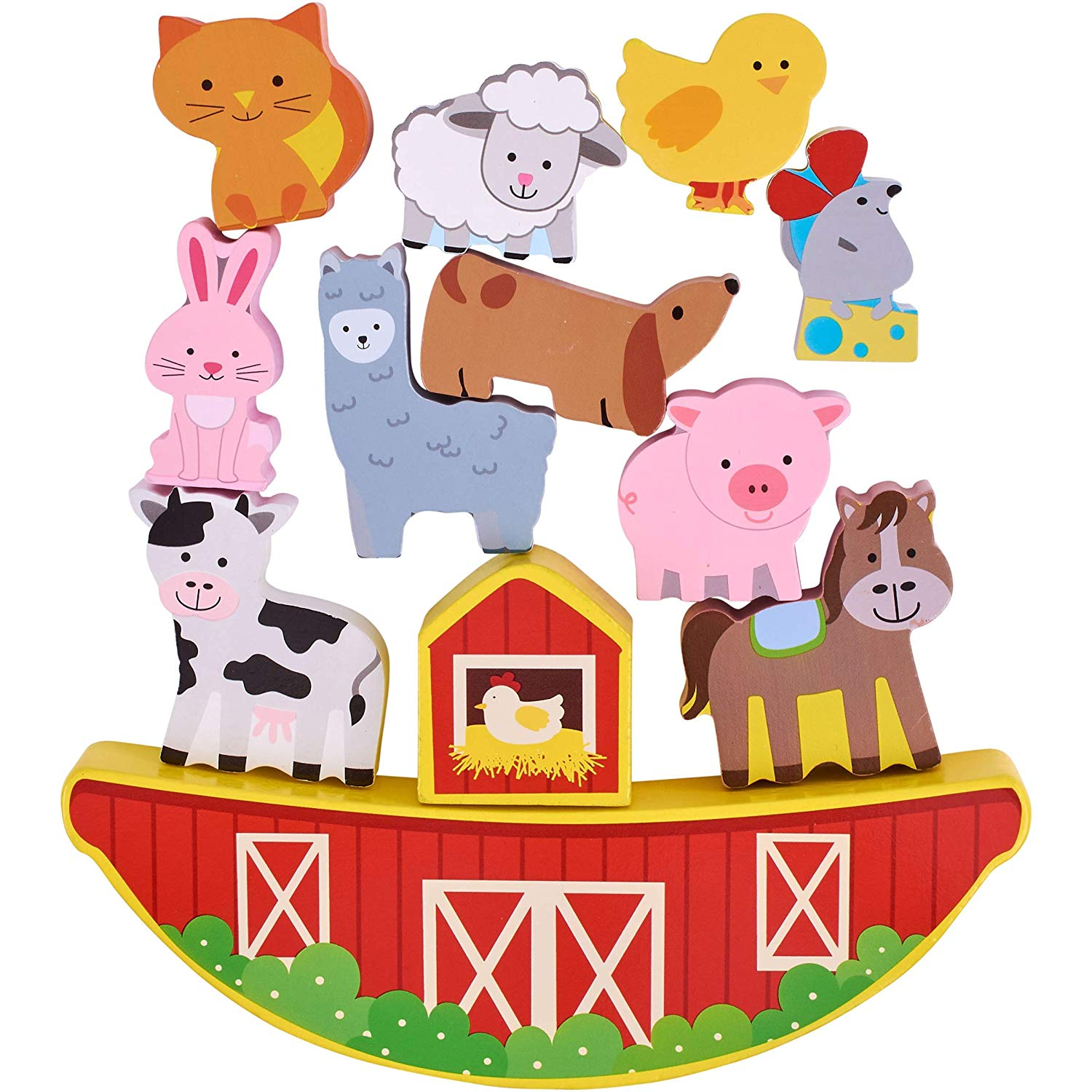 First Learning Wooden Balancing Farmyard Block Playset