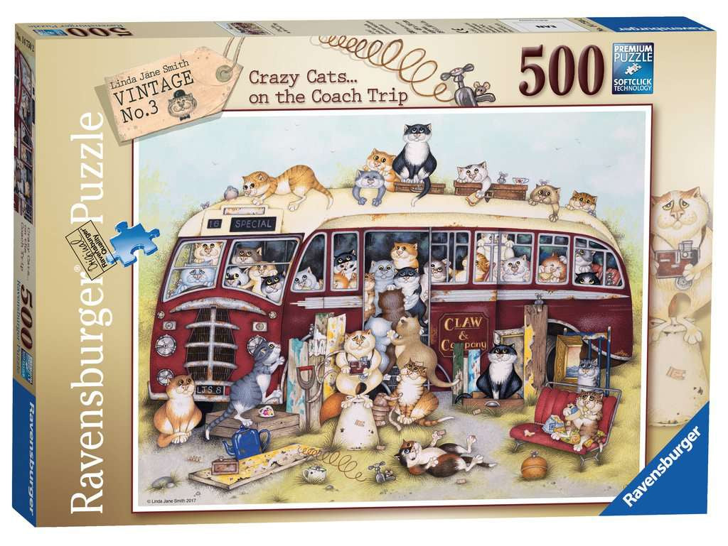 Ravensburger Crazy Cats OnThe Coach Trip 500pc Jigsaw Puzzle