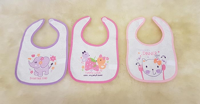 Nursery Time 3Pk. PEVA Backed Bibs 648G