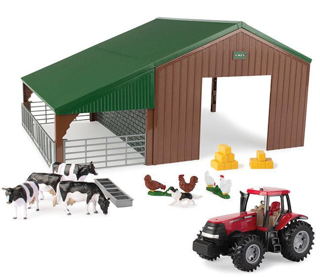 Case Tractor And Farm Shed Playset 1:32