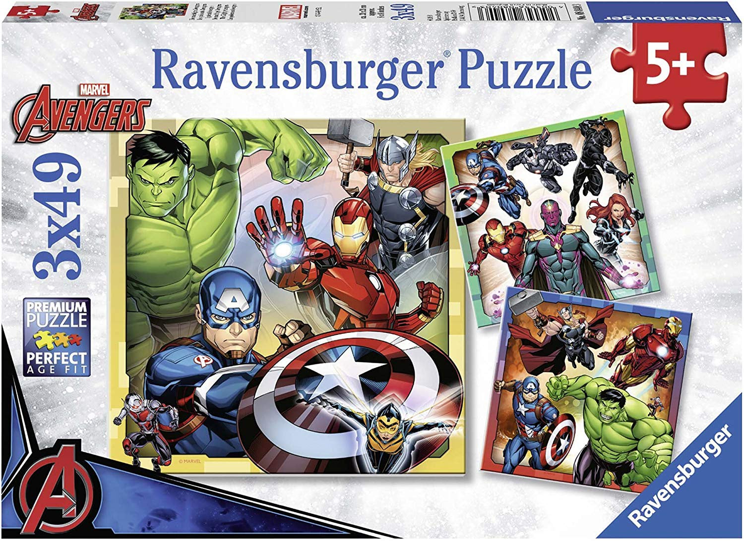 Marvel Avengers 3 x 49pc Jigsaw Puzzle 08040