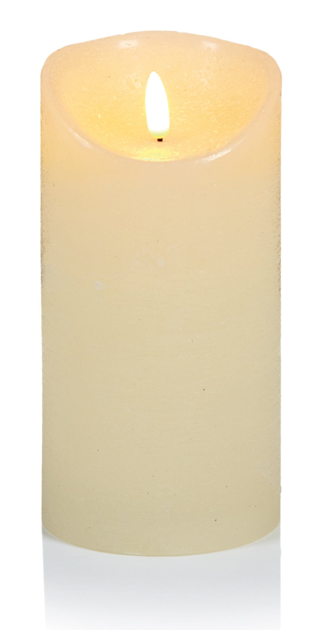 18x9cm Cream Flickerbright Textured Candle