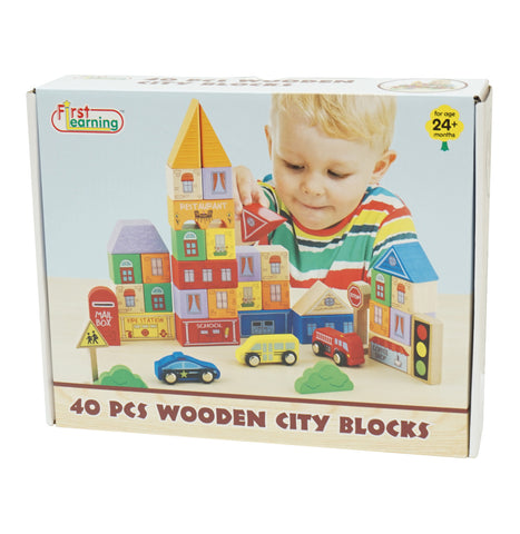 First Learning Wooden City Blocks 40pc