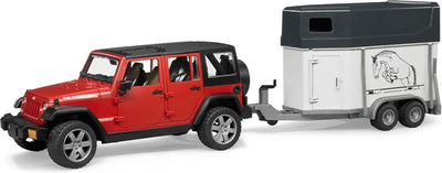 Bruder 02926 Jeep Wrangler Unlimited Rubicon with Horse Trailer and Horse