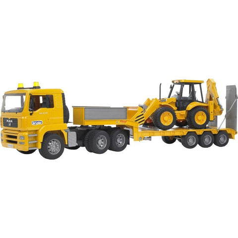 Bruder MAN TGA Low Loader With Backhoe Loader