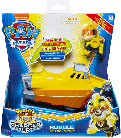 Paw Patrol Mighty Pups Charged Up Rubble Deluxe Vehicle