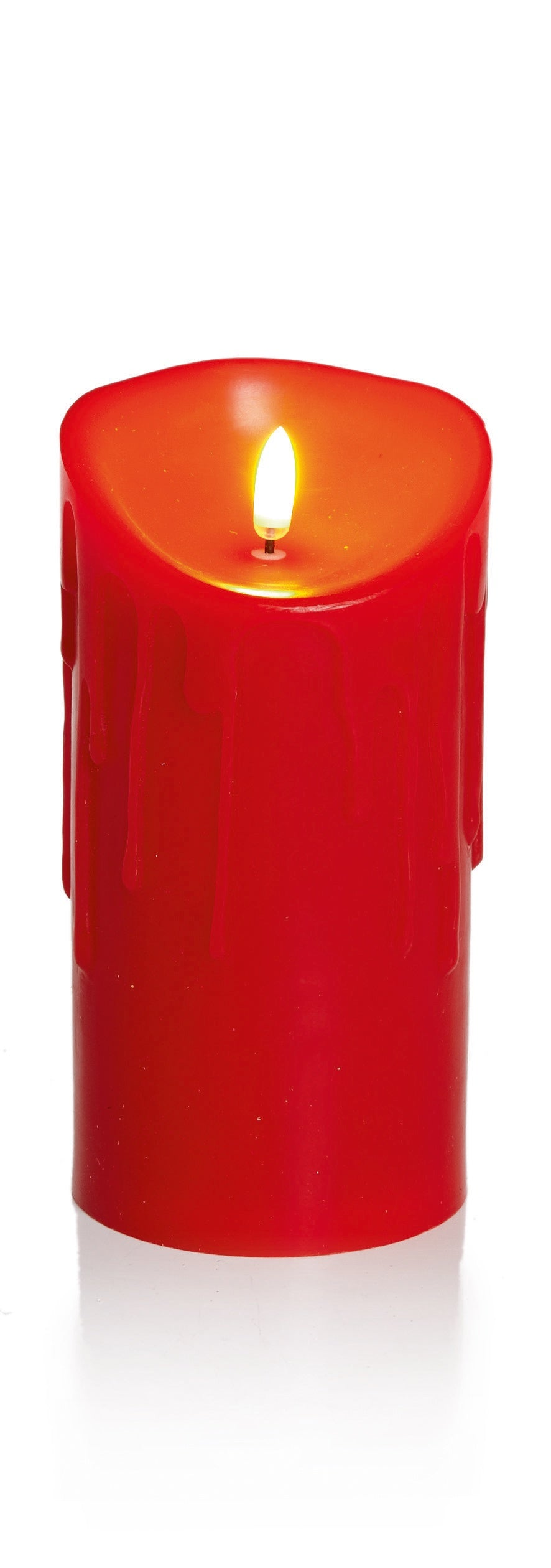 18x9cm Red Melted Edge Flickabright Candle w/Timer