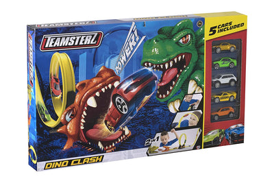 Teamsterz Dino Clash Track Set With 5 Cars