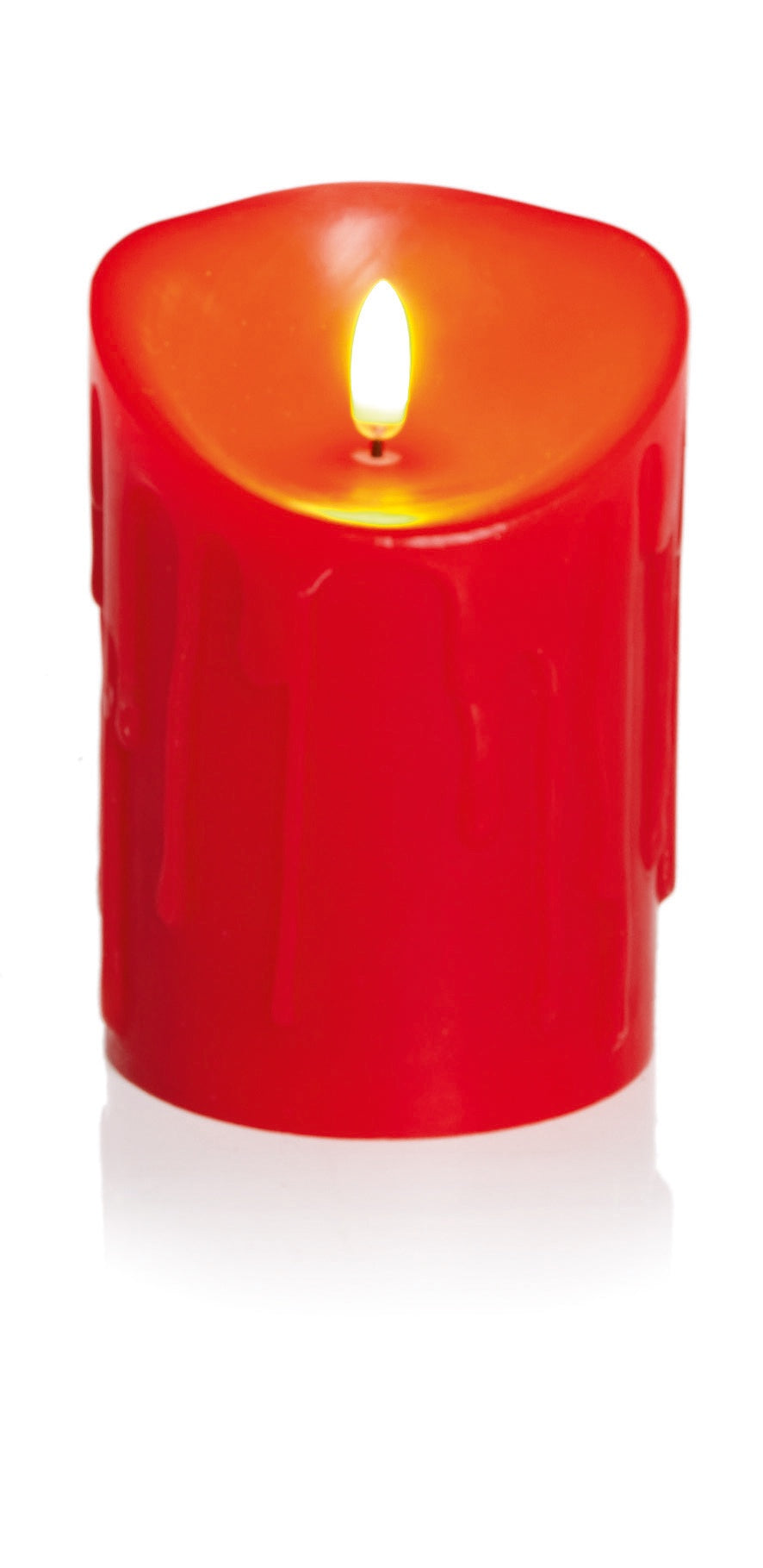 13x9cm Red Melted Edge Flickabright Candle w/Timer