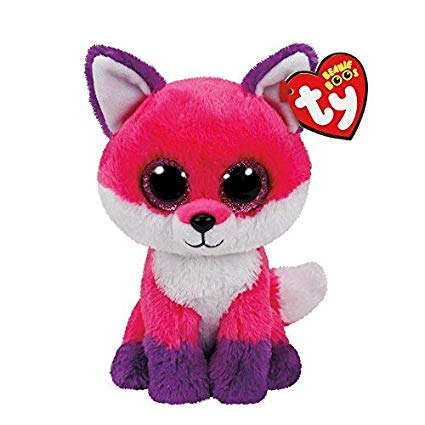 TY Joey Pink Fox Medium Beanie Boo Soft Toy
