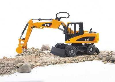 BRUDER, the company that owns the international CATERPILLAR licence for modelled toy vehicles made of plastic, is completing its CAT programme with a mobile excavator that is based on the original M315C. In typical Bruder fashion, the mobile excavator is ideal for imitating the reality in play; the 2 support legs stabilise the excavator and make working safe. The articulated steering on the shovel arm aids working in small areas, and is also extremely versatile. The shovel arm locks in a compac...