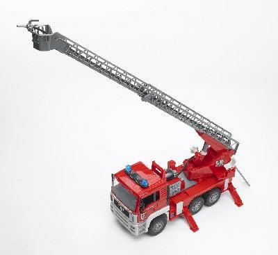 The MAN Fire Engine features-- Tipping driver's cab- View of the engine block- Fully functional water pump and sprayer- Integrated fillable water tank- Turntable ladder can be extended and height-adjusted via hand knobs- Rescue basket, coil-up water hose - Folding mirrors- Four stabilizer outriggers- Tread tyres Light and sound module with four functions-Horn, engine noise, flashing light and siren sound.-Standard AAA batteries included  Ages- 4+