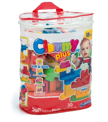 30 small soft blocks inside a handy carry case. Ideal to stimulate manual skills, imagination, creativity and role playing. Play, chew or squash the blocks in complete safety. Lots of hard-wearing, colourful blocks that can be stacked or slotted together to make a variety of new and beautiful shapes.  Ages- 18mths+