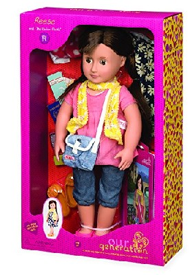"Time to explore the world with your new Our Generation Deluxe 18"" Doll - Reese. Reese is ready for the adventure of a lifetime with her very own passport and a lot of the other essentials she'll need on the road.  Adventures at home were fun but as this Our Generation doll is about to experience, there's a whole new world out there.  As you expect from this great collection, the Our Generation Reese comes loaded with different outfits and accessories.  ..."