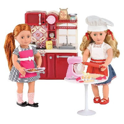 Make a pastry superstar out of your Our Generation doll with the Master Baker set. Including a chef's hat and apron, a mixer, measuring tools, flour and sugar, six eggs, cookie dough and a rolling pin, the set has everything you need to make delicious breads and cookies. Doll sold separately. Includes- 1 chef hat, 1 apron, 1 functional stand mixer with flat beater tool, 1 whisk for stand mixer, 1 bowl for stand mixer, 1 baking timer, 1 measuring cup, 1 set of measuring spoo...