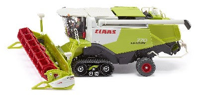 Siku 4258 Claas Lexion 770 On Tracks  Scale 1-32Mainly produced in die-cast metal, this model has multiple functions. The cutting unit is height-adjustable and removable. For road transport, the cutting unit, fitted with GPS cameras, can be loaded onto the matching trailer and coupled to the combine harvester. The pendulum suspension tracks help the harvester glide easily across toy fields. The filler pipe is movable and the flaps of the giant corn tanks can be opened. A spring-mounte...