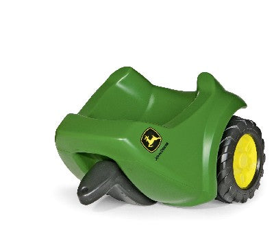 Rolly  John Deere Mini Trac Trailer This John Deere trailer is designed solely to fit the mini trac range.  It features a heavy duty tipping load space which links to any of the mini trac range by a coupling pin through its draw bar eye. Dimensions of item- 25 x 30 x 34 cm.