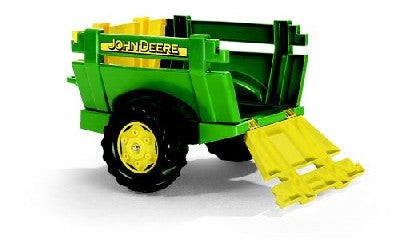Rolly John Deere Farm Trailer *This large single axle John Deere green farm trailer has an opening rear section and can be attached to the back of any Rolly tractor.  *Dimensions of item- 62 x 46 x 37 cm. *Suitable For Ages 3+