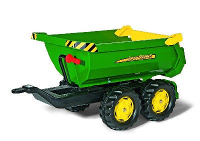 John Deere  Halfpipe Trailer *This large four wheeled twin axle Deutz-Fahr trailer has a handle assisted tipping action. It also can be attached to any Rolly tractor.  *Dimensions of item- 89 x 45 x 43 cm. *Suitable For Ages 3+ *Assembly Required
