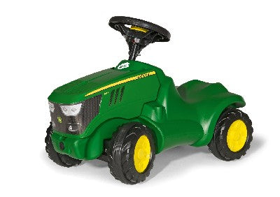 John Deere  Mini Track *This John Deere 6150R mini foot to floor ride on tractor features an opening bonnet, a steering wheel with an integral squeaky horn and a knee indentaion to scoot along. *Suitable For Ages 1+
