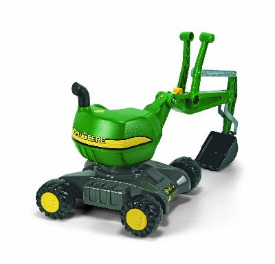 Rolly John Deere Excavator On Wheels *With realistic digging mechanism that can be used on sand and earth *Can rotate through 360 degrees *With locking arm and 4 stable wheels *Dimensions of item- 102 x 43 x 74 cm *Suitable For Ages 3+