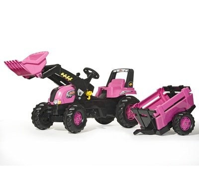 Rolly Pink Tractor with Loader and Trailer  *Rolly pedal tractor with Loader and Trailer  *Rolly Junior Tractor and trailer comes complete with frontloader that can be released, scooped and tipped using the levers also includes an opening bonnet *Suitable For Ages 3+
