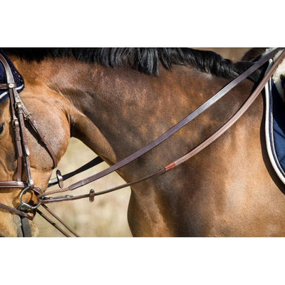 HFI GERMAN REINS LEATHER AND ROPE - Pony / Black - Pony / Brown - Cob / Black - Cob / Brown - Full / Black - Full / Brown