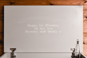 Luxury Engraved Times Font Name Toy Box