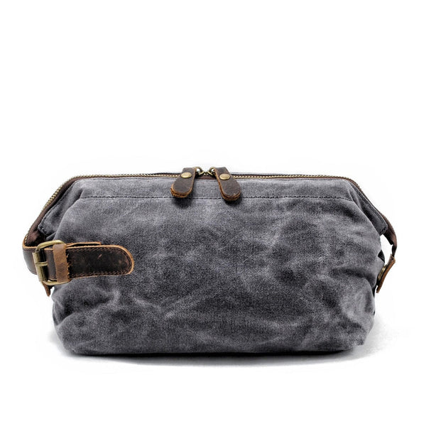 Dark Grey Dopp Waxed Canvas Wash Bag - The Rugged Beard Company