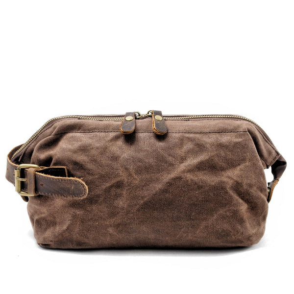 Coffee Dopp Waxed Canvas Wash Bag - The Rugged Beard Company