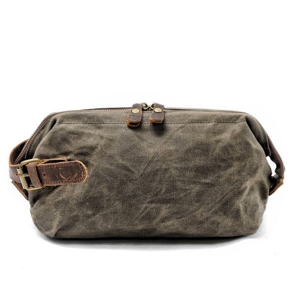 Green Dopp Waxed Canvas Wash Bag - The Rugged Beard Company