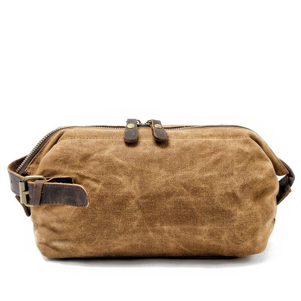 Khaki Dopp Waxed Canvas Wash Bag - The Rugged Beard Company