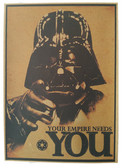 Darth Vader - The Empire Needs You! Star wars retro poster - vintage wall decals - neli
