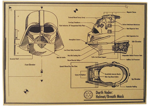 Darth Vader Helmet - Star wars retro poster - vintage wall decals - neli