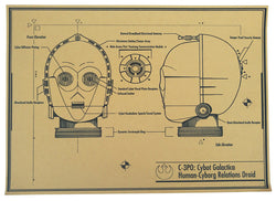 C-3PO droid head design - Star wars retro poster - vintage wall decals - neli