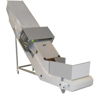 Inclined/Horizontal Conveyor with Painted Steel Frame - Plastics Solutions USA