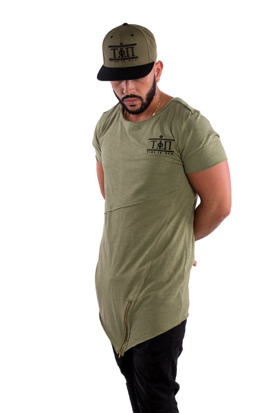 Olive Long Front Zip T-Shirt