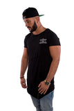 Black Long Front Zip T-Shirt