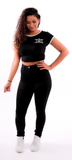 Black Ladies Cropped Ringer T Shirt
