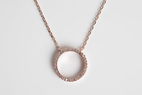Rose Gold Open Circle Pave Necklace