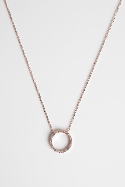 Rose Gold Open Circle Sparkly Necklace
