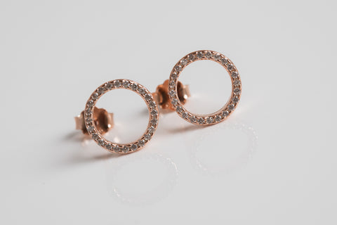 Open Circle Pave Earrings Rose Gold