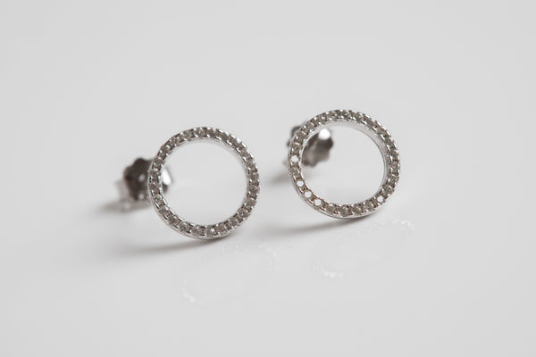 Open Circle Pave Earrings Silver