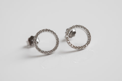Open Circle Sparkle Sterling Silver Earrings