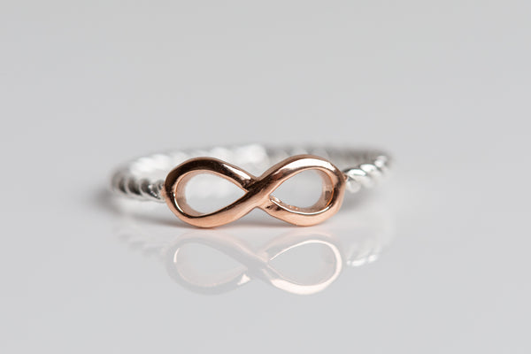 Rose Gold and Sterling Silver Infinity Ring