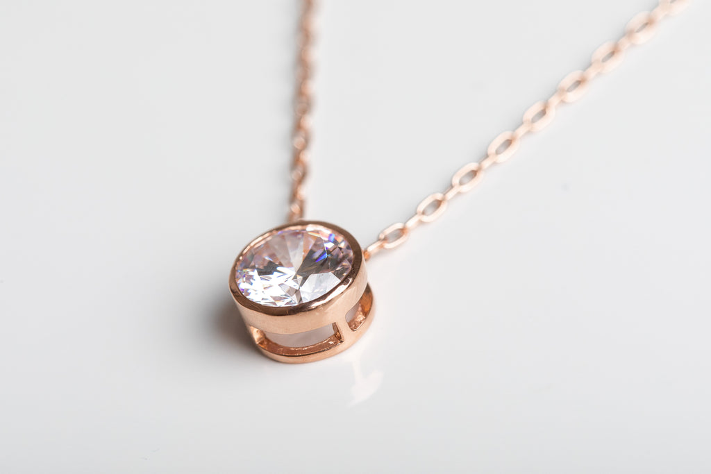 Rose Gold Sparkle Solitaire Necklace
