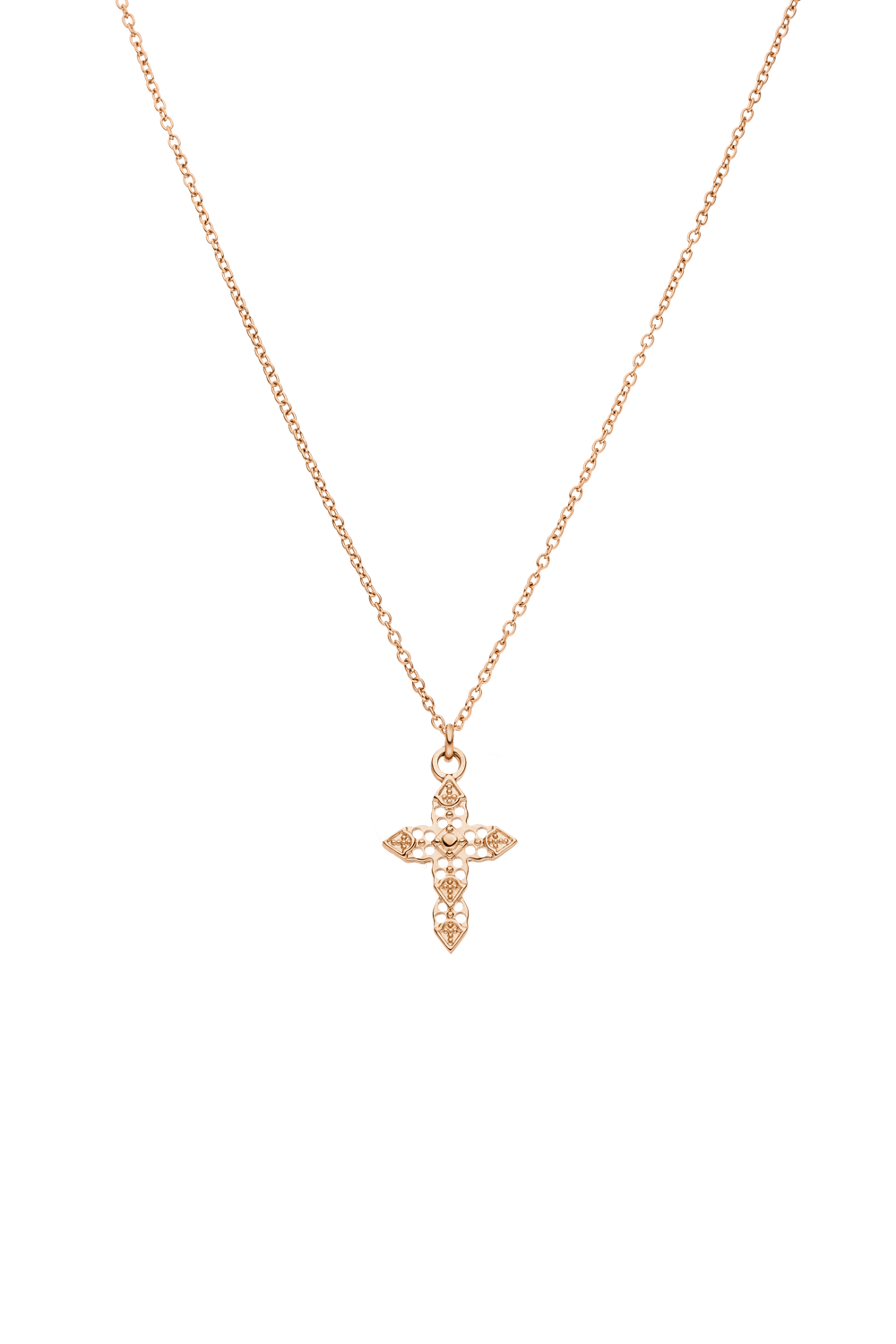 SMALL CROSS NECKLACE ROSÉGOLD