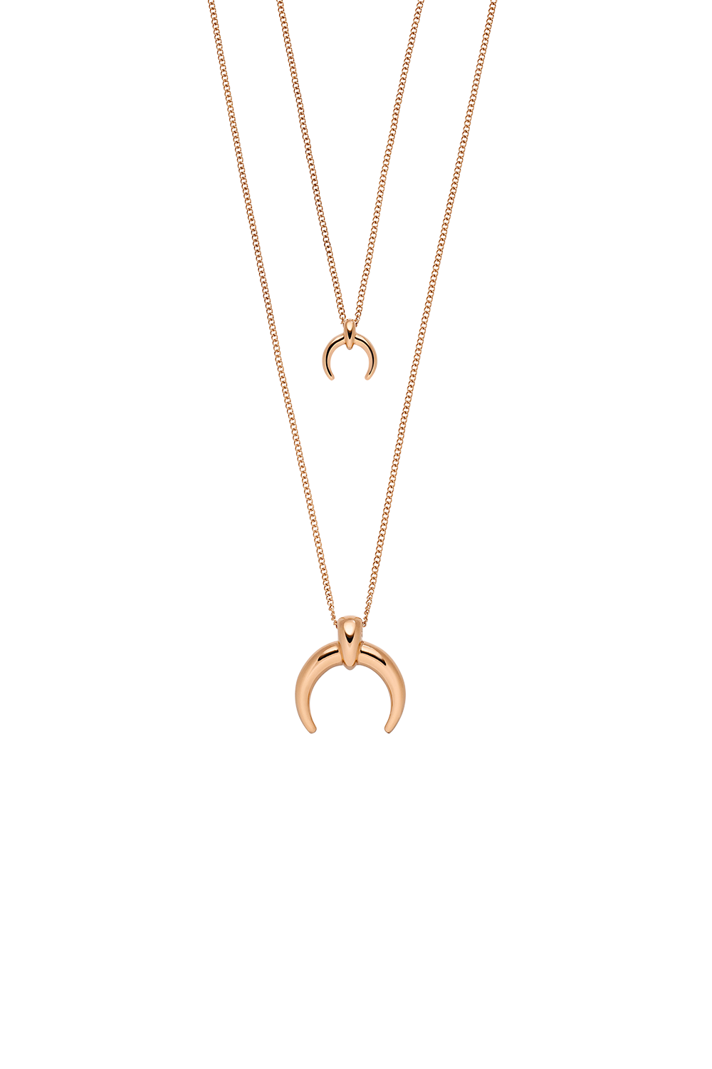MOON DOUBLE LAYER NECKLACE ROSÉGOLD