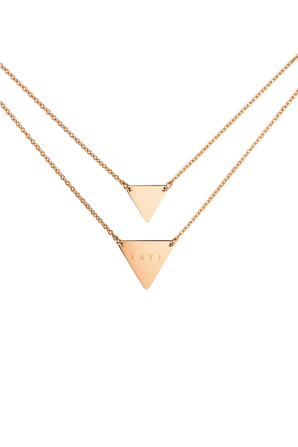 DOUBLE LAYER TRIANGLE NECKLACE ROSÉGOLD