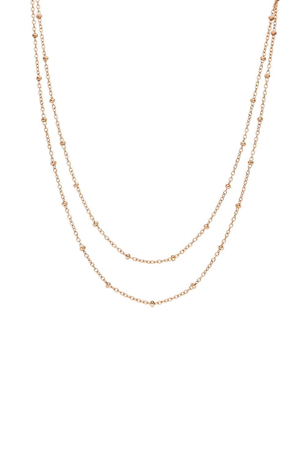 SPOTTED DOUBLE LAYER NECKLACE ROSÉGOLD